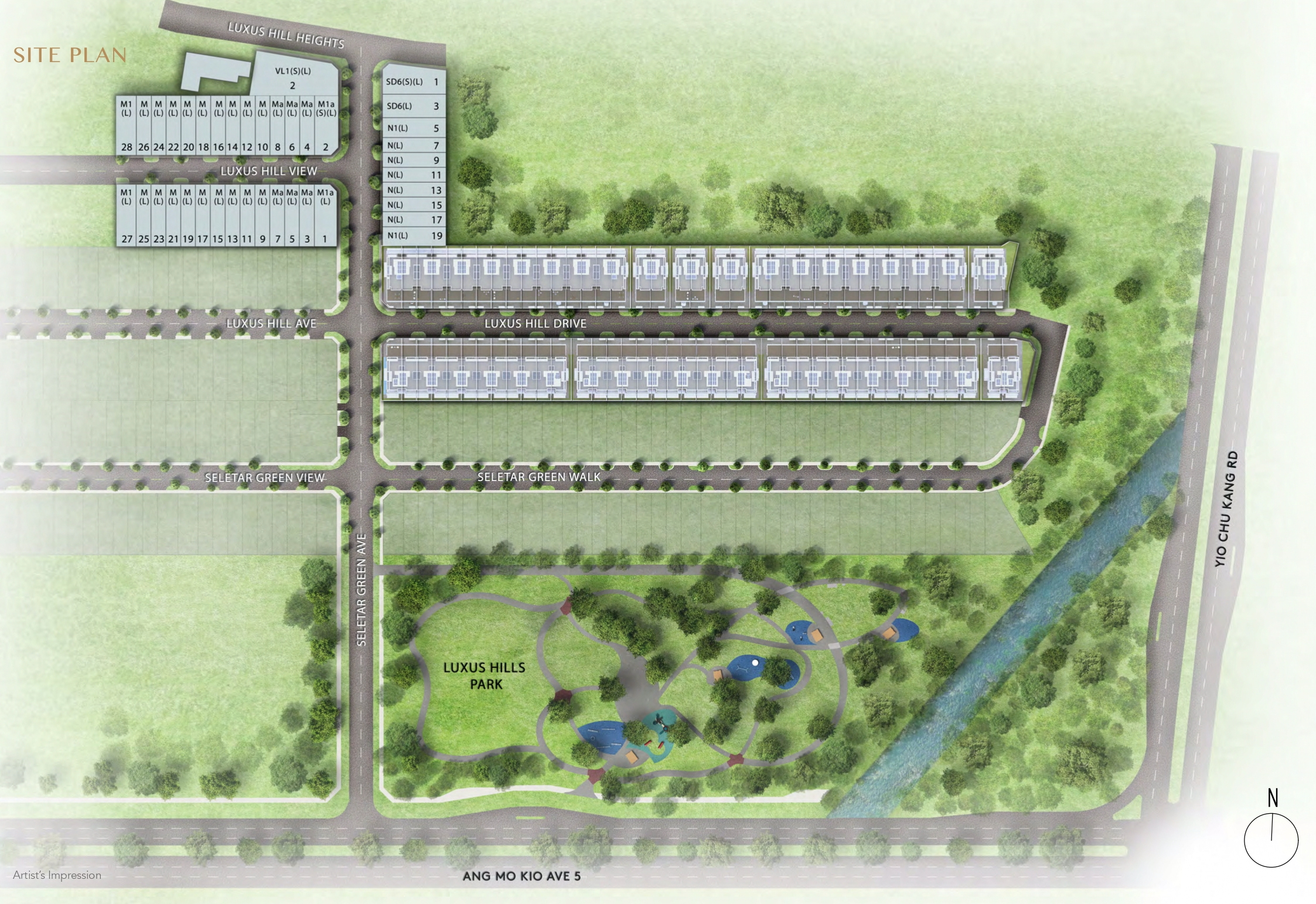 Luxus Hills Contemporary Collection site plan