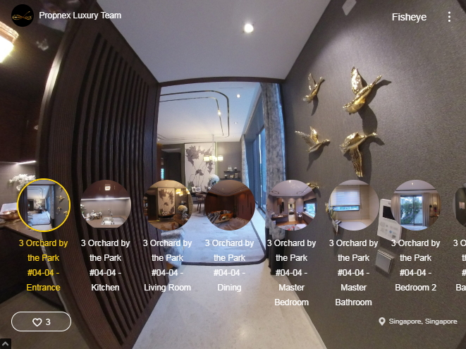 3D Virtual Tour of 3 Orchard By-The-Park 2 Bedroom Showflat #04-44 1066 sqft