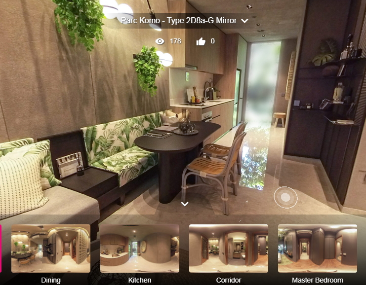 3D Virtual Tour of Parc Komo 2 Bedroom, Type 2D8a-G Mirror